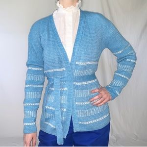 Vintage 1970s Blue & White Cardigan Wrap